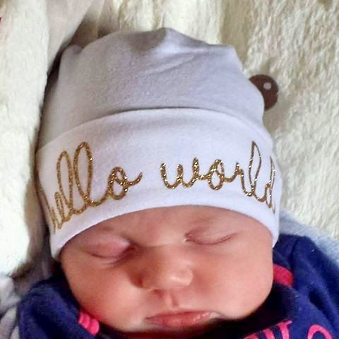 b619be4ec59 Hello World Hat Personalized Baby Hat Baby Beanie Hospital Hat Newborn Hat  Customized Baby Hat Hat with name Photo Prop Hat by littlebirdieandco