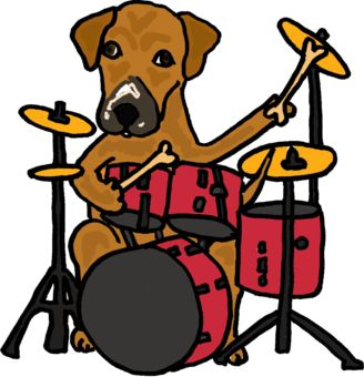 Animals Designs T Shirt Cartoons Puppy Dog Playing Drums Tshirts Puppy Cartoon Elephant Pictures Musical Art