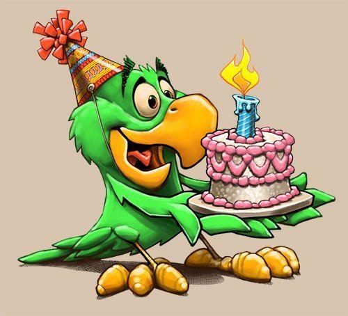 С днем рождения картинка с попугаями, надписи