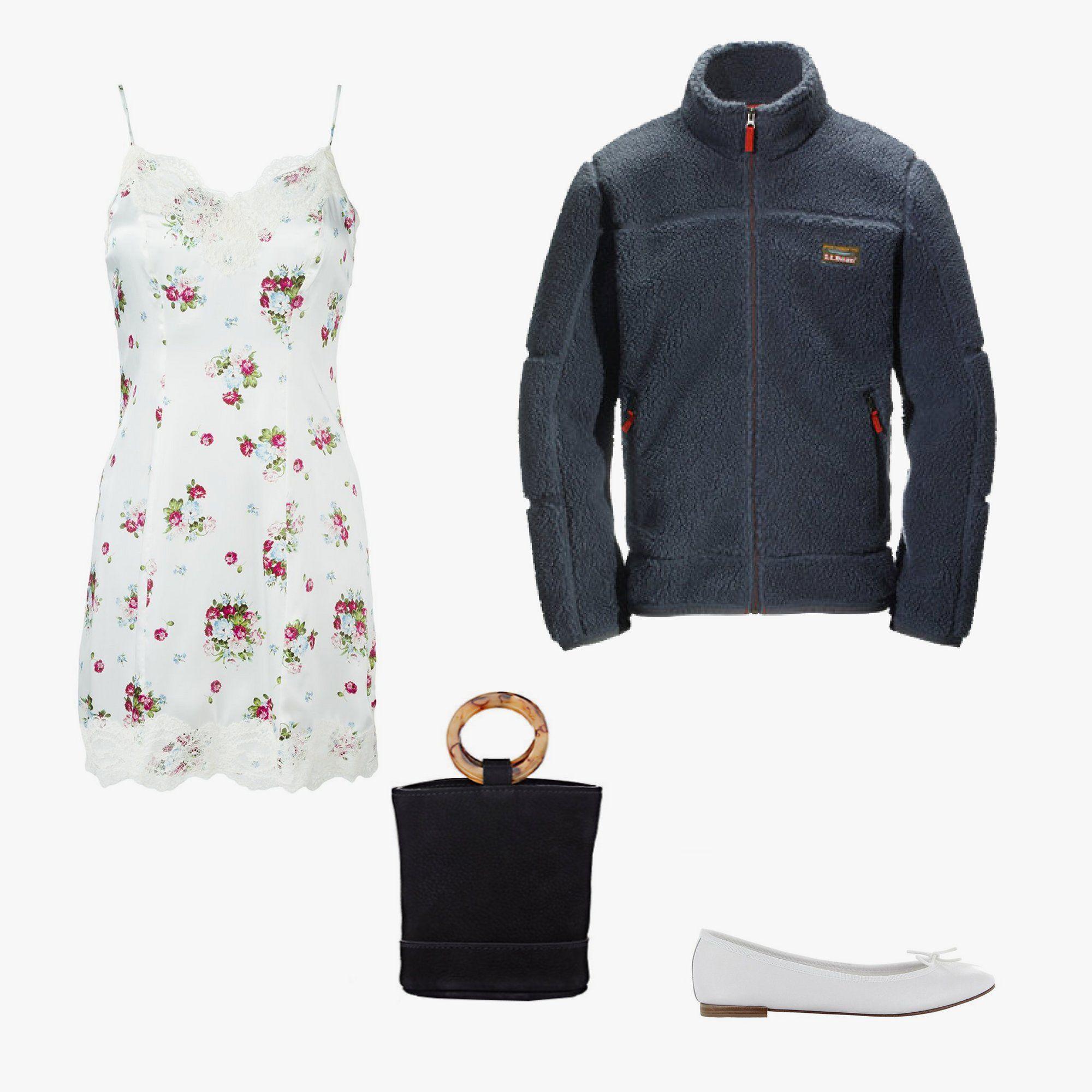 Dondup floral-print slip dress, $168, farfetch.com; L.L. Bean Mountain Pile fleece jacket, $89, llbean.com;Repetto Cendrillon ballerina flats, $295, repetto.com; Simon Miller Bonsai bucket bag, $390, barneys.com