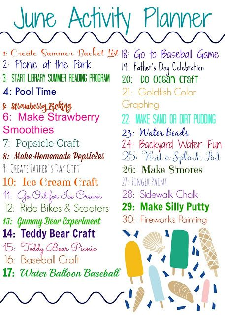 June Activity Planner For Kids Free Printable Food Family