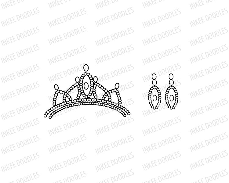 Little Princess Crown Tiara and Earrings Clip Art set. Comes with ...