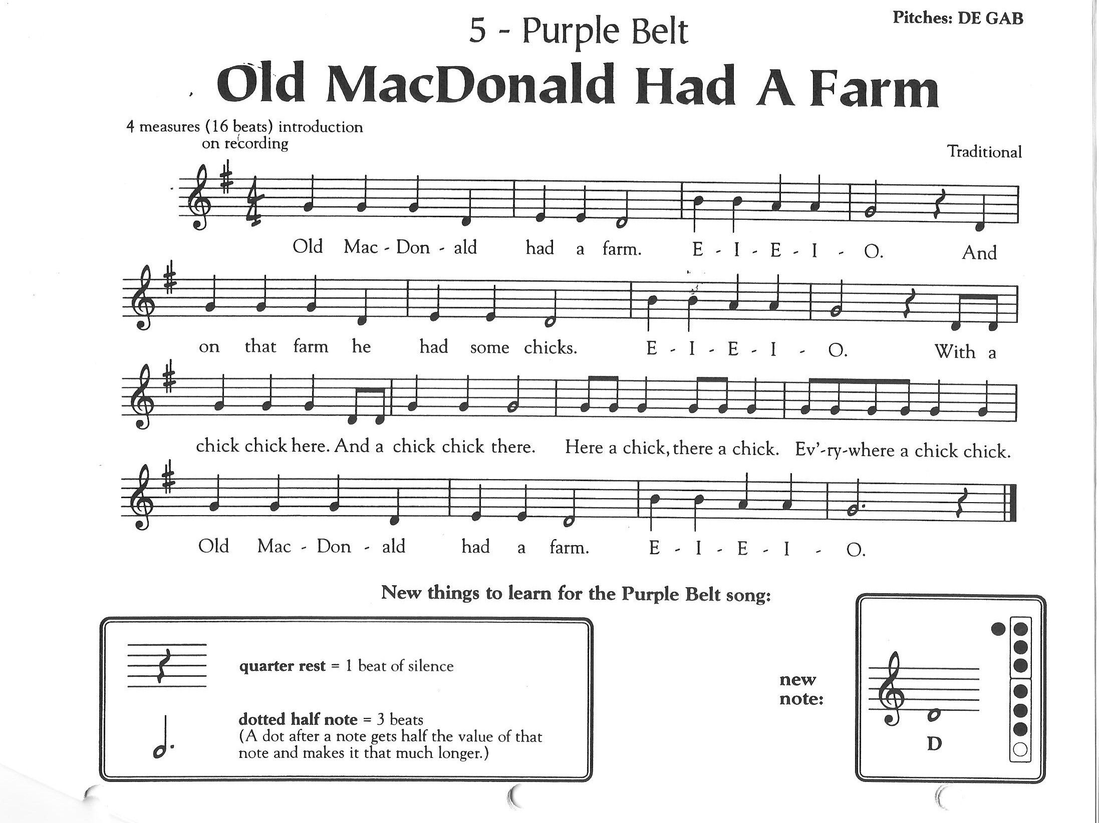 Recorder Music For Old Macdonald