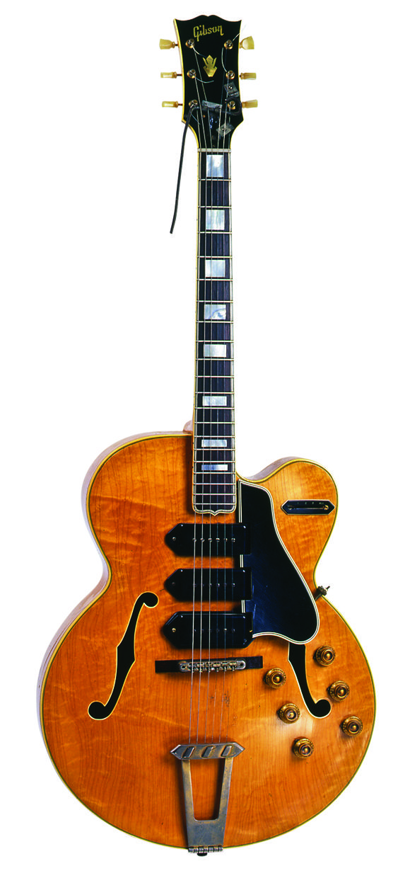 Carl Perkins 1956 Gibson ES5. This guitar was used on Blue Suede Shoes and many other Sun recordings such as Matchbox.