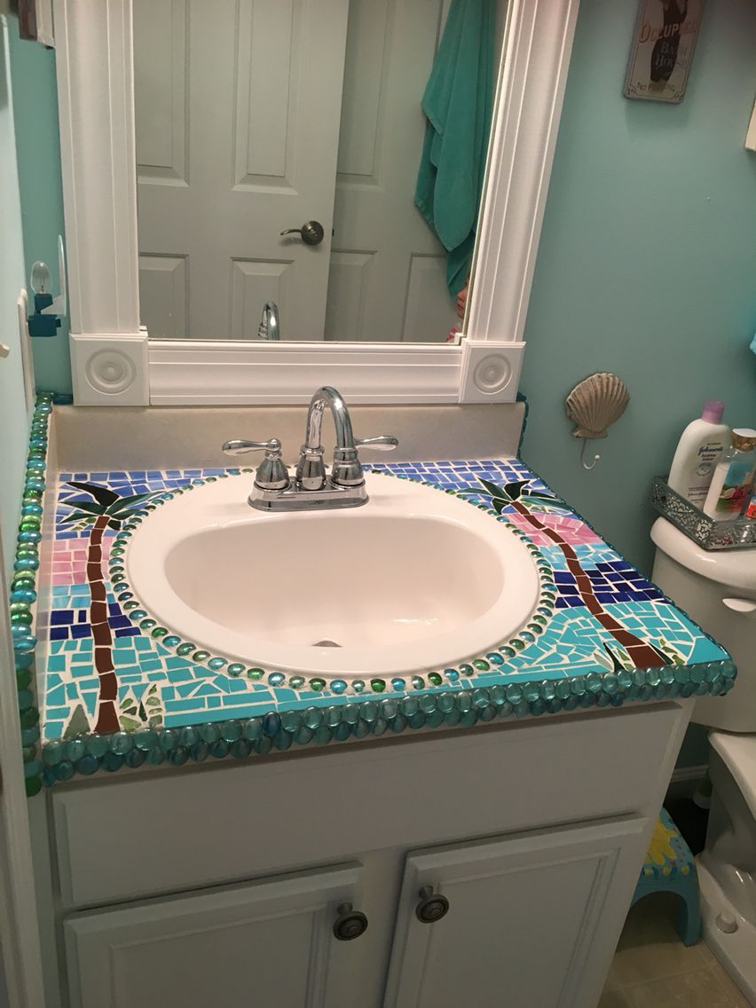 Tile Mosaic Bathroom Sink Used Glass Scraps And Glass Beads Over