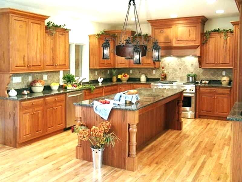 kitchens with medium oak cabinets and dark wood floors ...