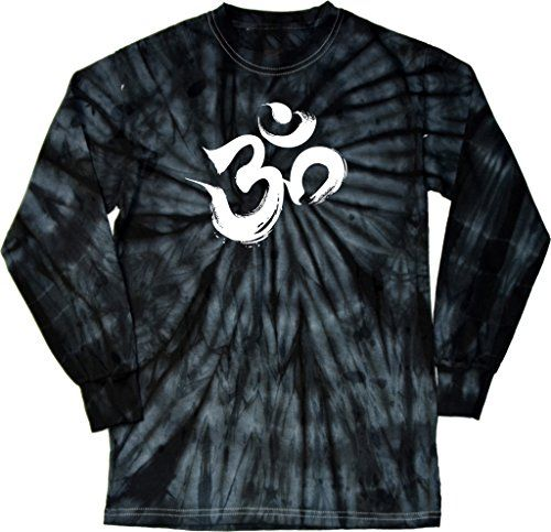 Mens Yoga Brushstroke AUM Long Sleeve Tie Dye Tshirt Spider Black 3XL ** Click image for more details.