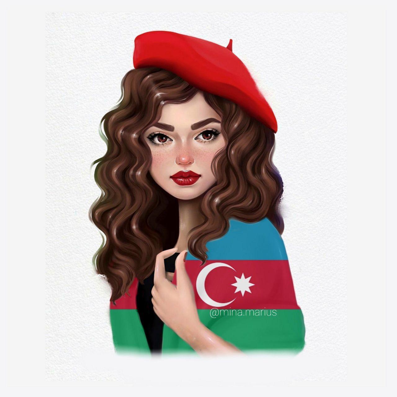 Azerbaycan Disney Princess Drawings Azerbaijan Flag Pencil Illustration