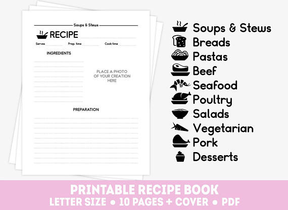 Printable recipe binder kit 20 recipe pages cover letter - printable cover letter