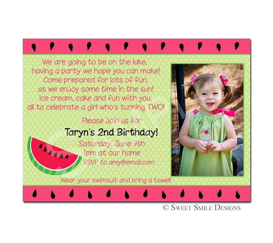 Photo Birthday Invitation Watermelon By SweetSmileDesigns On Etsy 1500 Via 2nd Party Invitations Wording