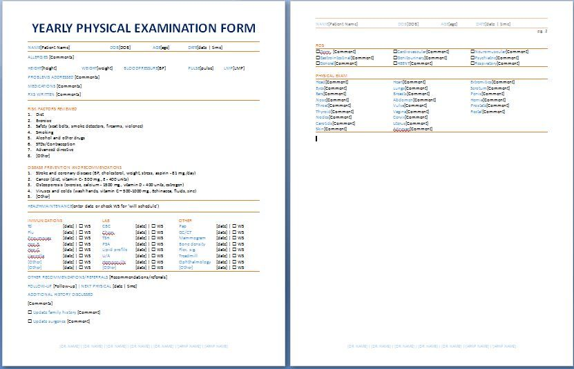 Yearly Physical Examination Form  Daily Medical Forms