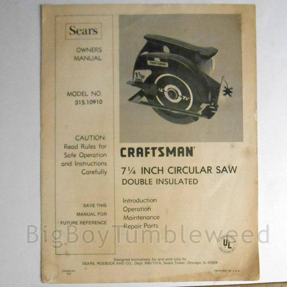 Vintage Sears Craftsman 7 1 4 Circular Saw Power Tool Booklet Repair Parts Book Owners Manual Home Illustrated Guide Carpen Sears Craftsman Circular Saw Sears