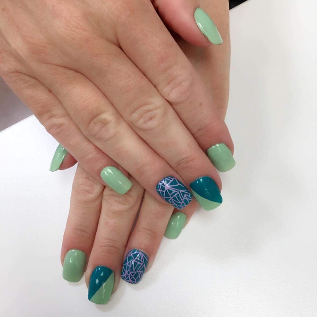 cool nail designs, detailed nail designs, green nails, blue nails, square shape nails, sports team nails, two toned nails, nail art