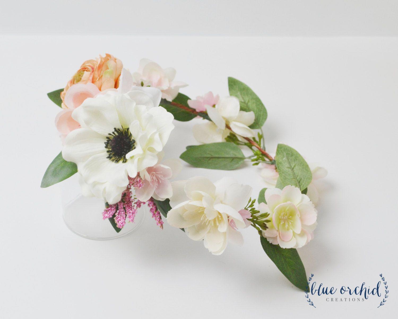 Boho flower crown silk flower crown peach flower crown pink boho flower crown silk flower crown peach flower crown pink flower crown anemone flower crown eucalyptus boho boho bridal shower by izmirmasajfo