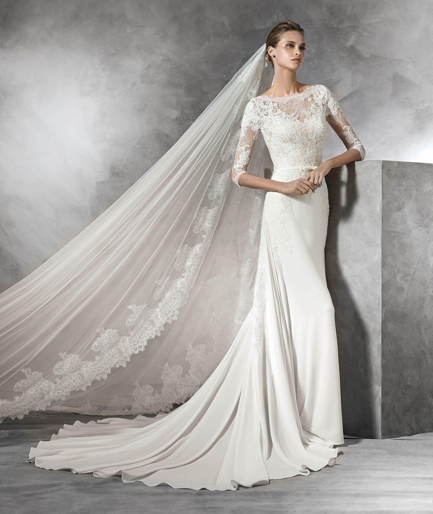 735183650a41 Pronovias Style Tane Sz. 12 Natural Off/White Crepe Original Price $1700 SA  Price $1200