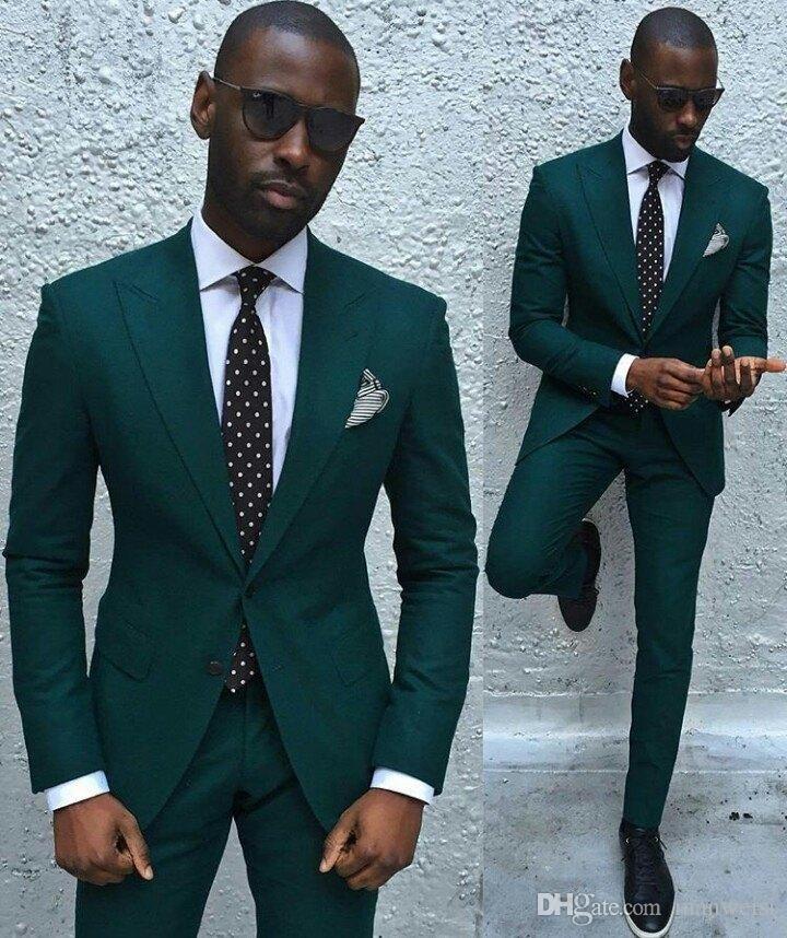 Hunter Green Arabic Men Suit Groom Tuxedos Groomsmen Formal Suits ...