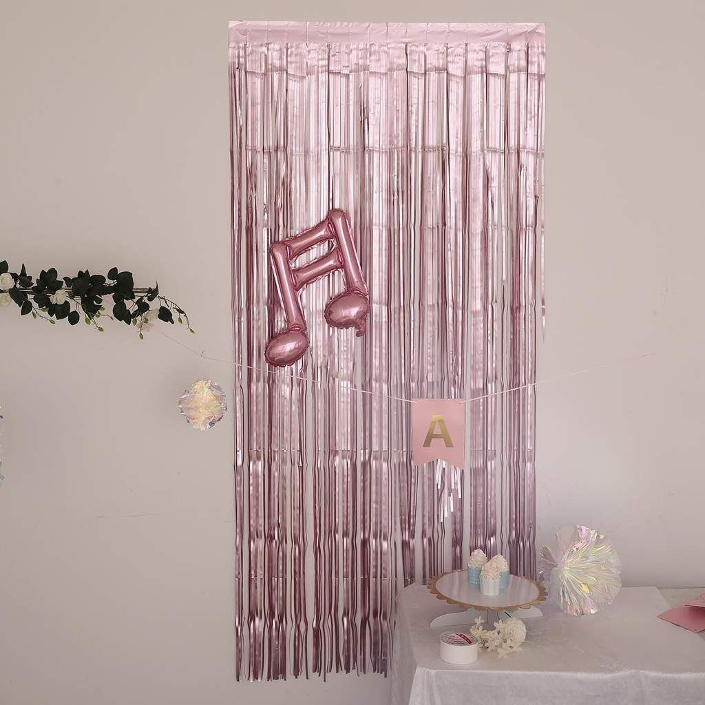 8ft Dusty Rose Metallic Foil Fringe Curtain Doorway And Party