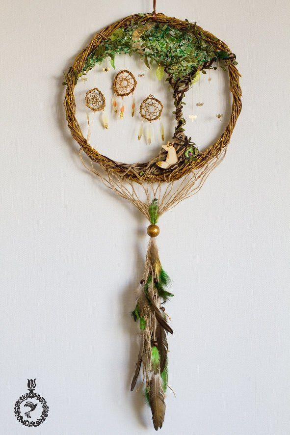 Photo of Green dreamcatcher with magic tree,green tree wall handing decor,forest wall dec…