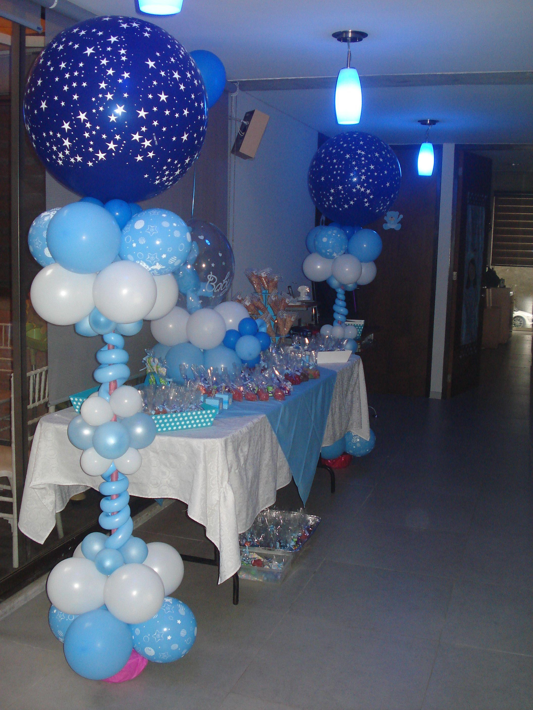 Columnas para baby shower con globos 3 39 zul rey con - Decoracion baby shower ...