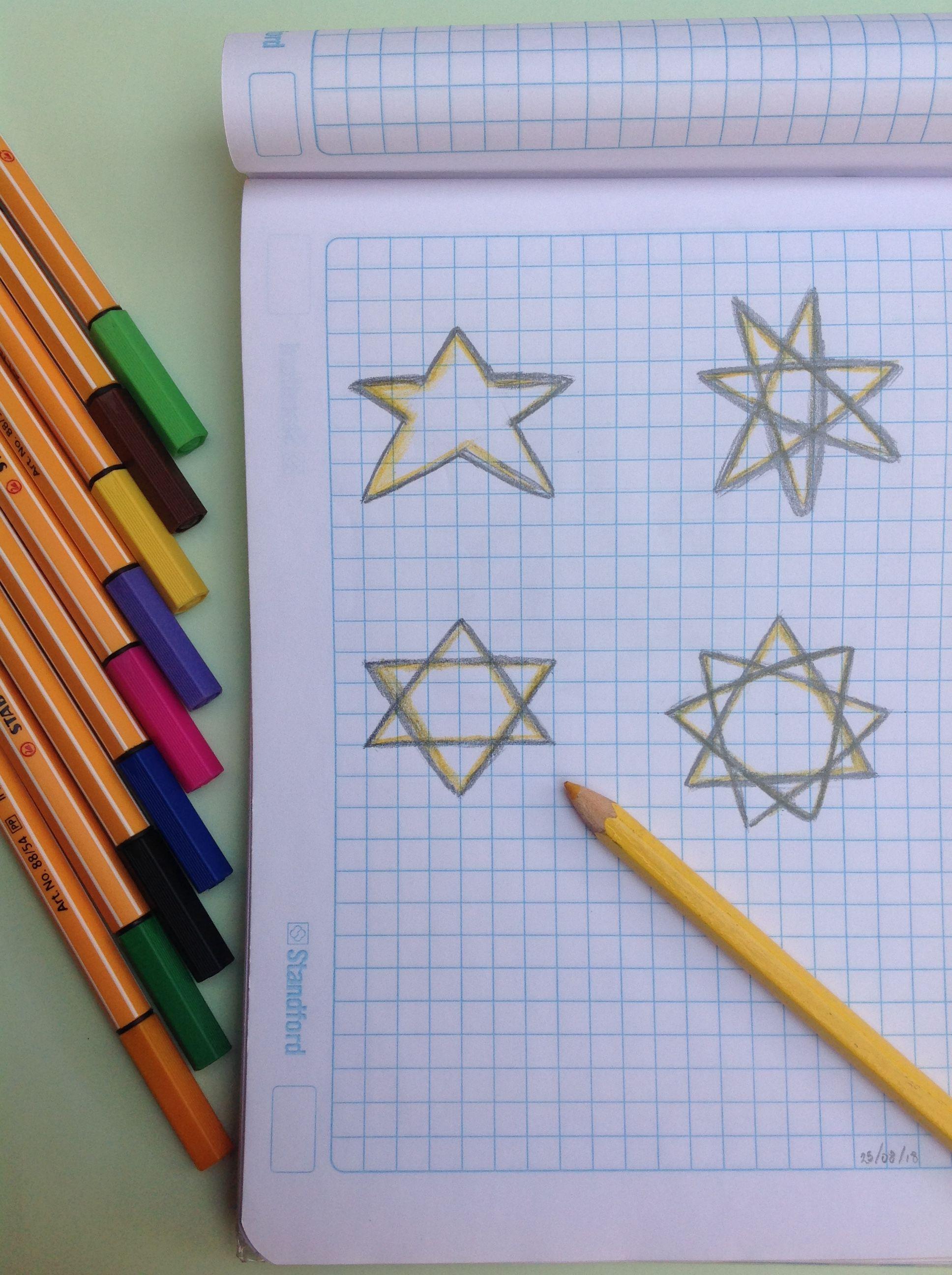 o dibujar distintos tipos de estrellas