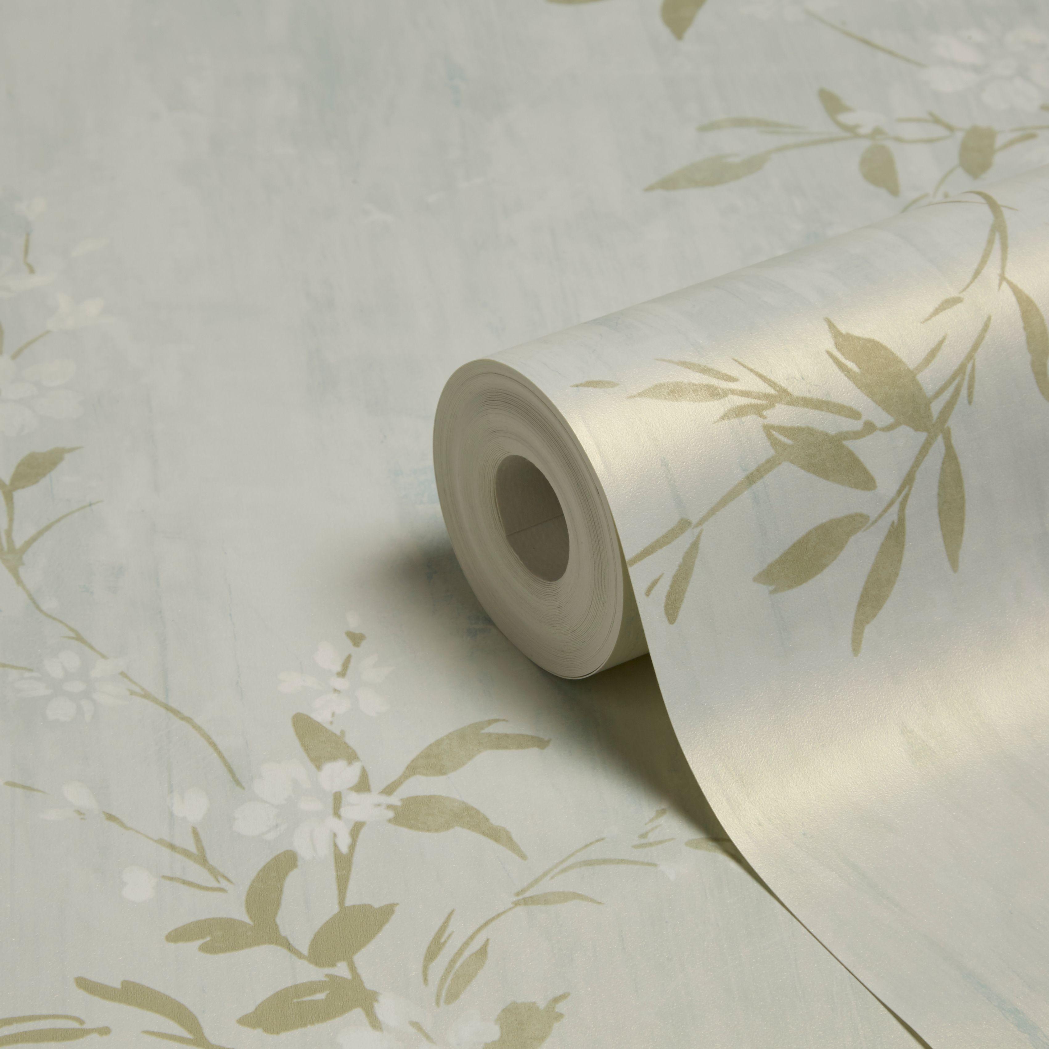 Best Grandeco Prestige Duck Egg Blossom Mica Wallpaper Departments Diy At B Q Wallpaper B Q 400 x 300