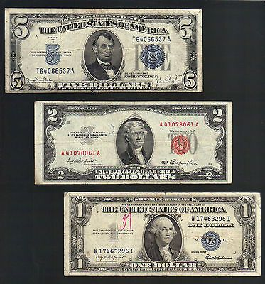 OLD MONEY $1 & $5 SILVER Certificate Blue Seals+ 2 Dollar Bill RED ...