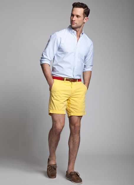 Choose a baby blue long sleeve shirt and yellow shorts to create a great  weekend-ready look. Dark brown suede boat shoes are a perfect choice to  complete ... 395a0412a