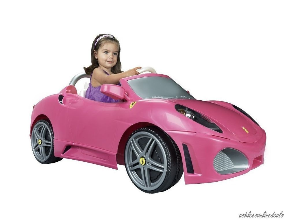 Toy Cars For Girls : Pink ride on car toy girls electric kids ferrari children