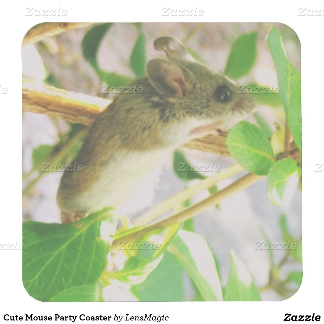Cute Mouse Party Coaster Square Paper Coaster