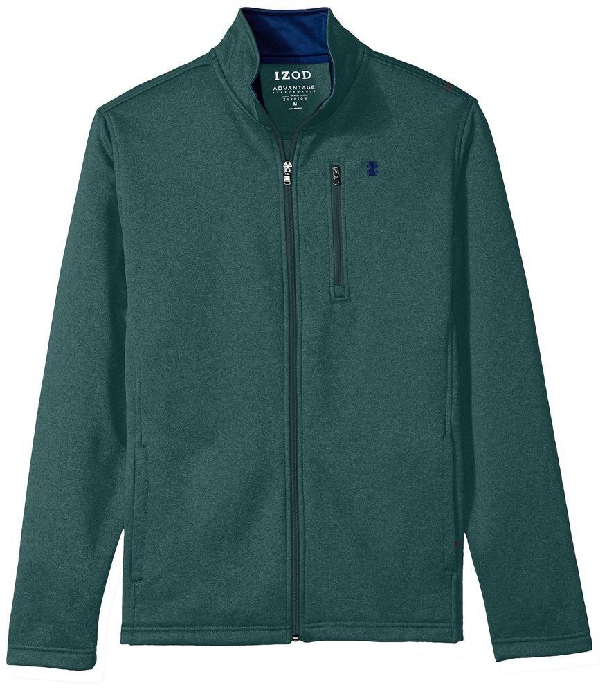 Izod New Green Heather Mens Size Xl Stretch Sport Flex Fleece Jacket 80 001 Fashion Clothing Shoes Acc Mens Jackets Mens Cardigan Sweater Blue Hoodie Men [ 1000 x 877 Pixel ]