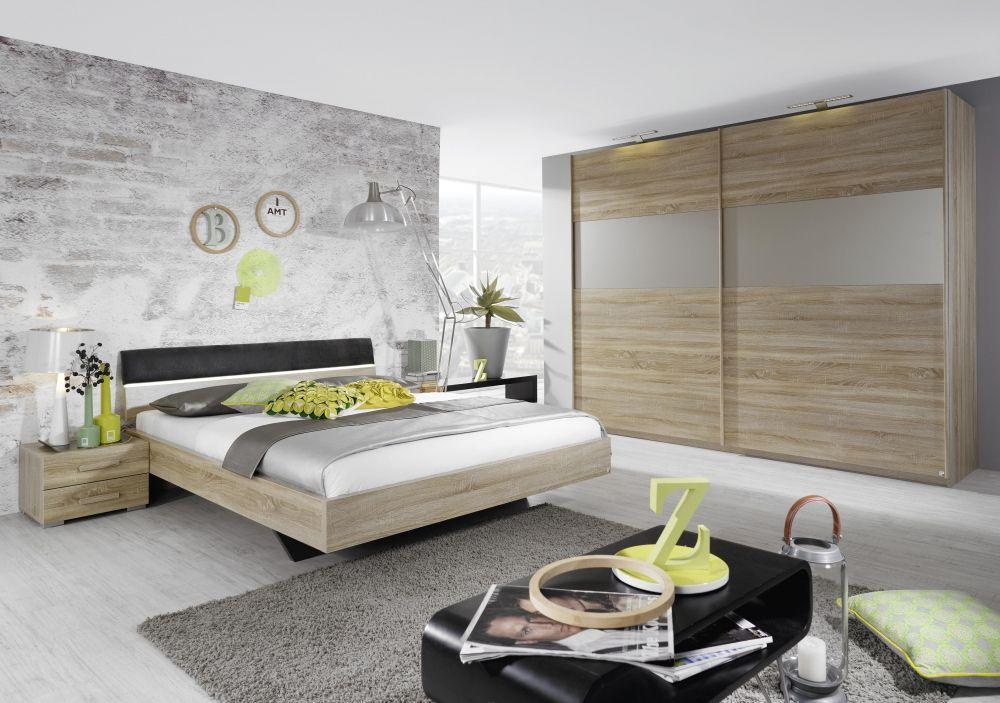 DILA Komplettschlaf Eiche zimmer Sonoma, Bett 140x200 cm ohne - schlafzimmer betten günstig