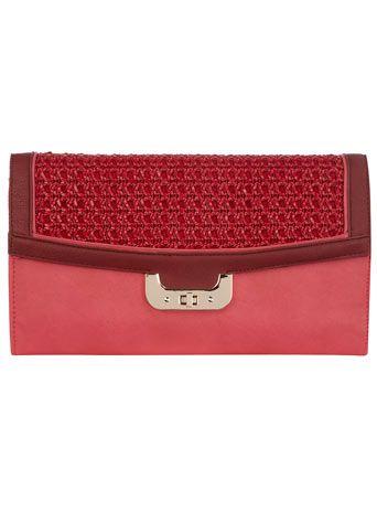 Pink raffia large clutch by Dorothy Perkins