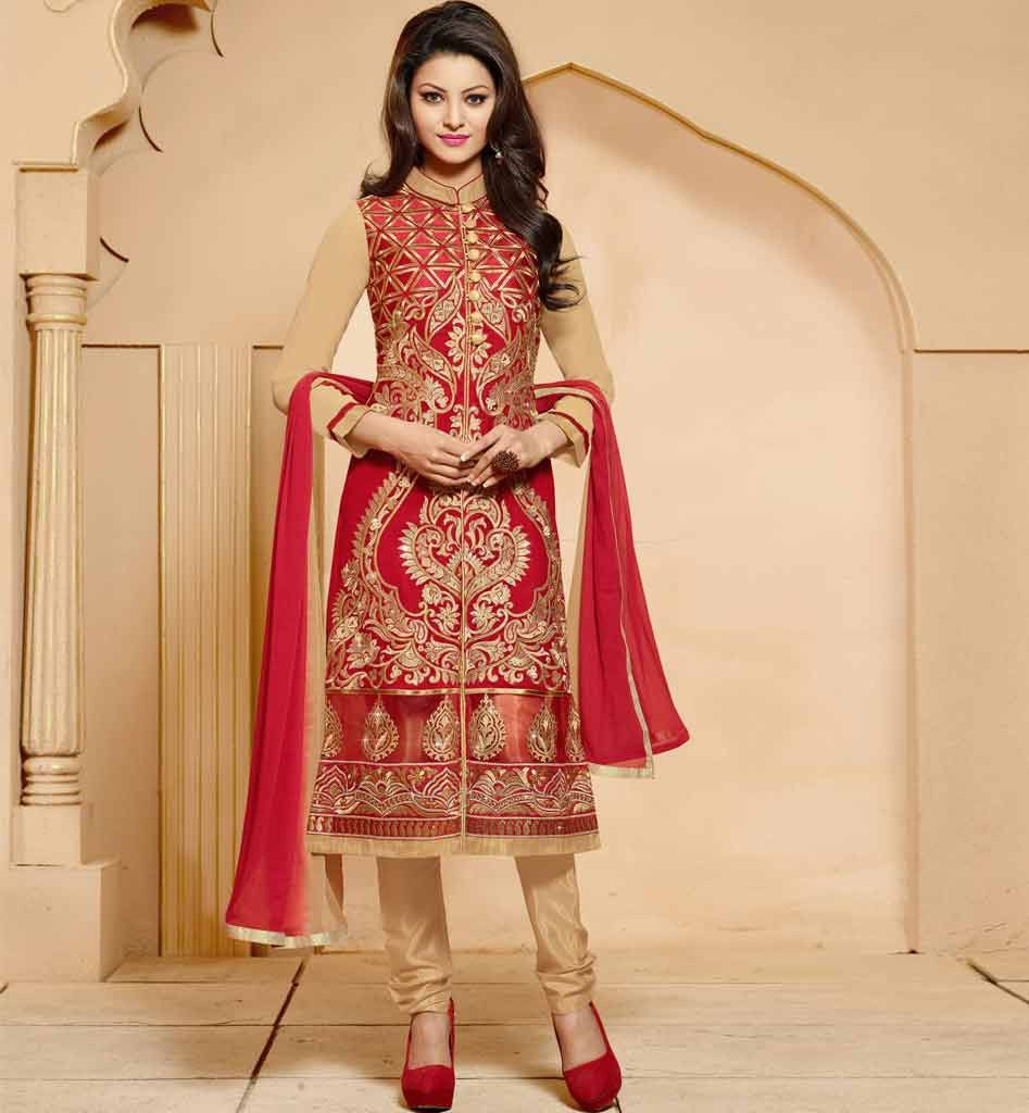 BUY PARTY WEAR SALWAR SUITS ONLINE INDIA STRAIGHT SHERWANI STYLE ...