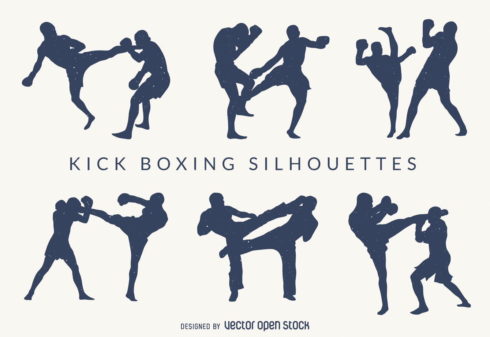 Kick Boxing Silhouettes Set Free Vector Artes Marciales Siluetas Marcial