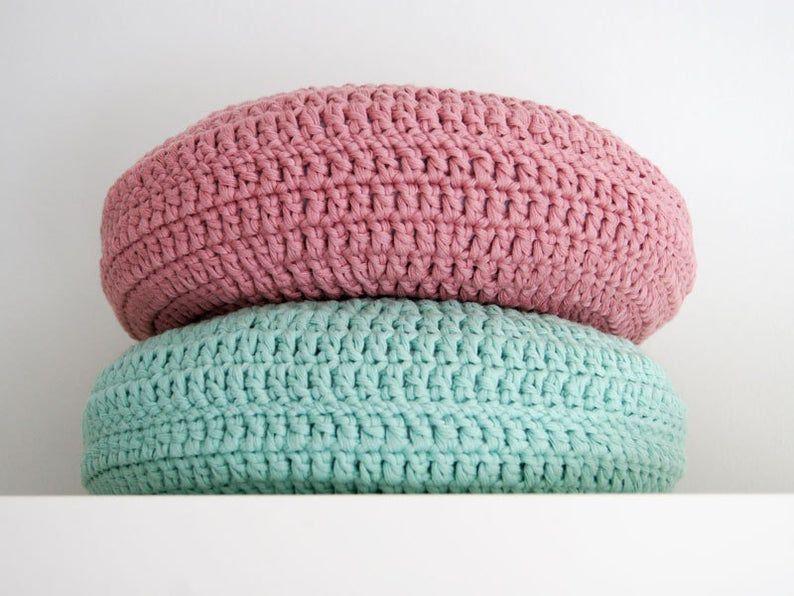 Crochet pillow. Round pillow. Crochet cushion. Coussin crochet. Cojin ganchillo. Crochet home decor. Nursery decor. SET of 2