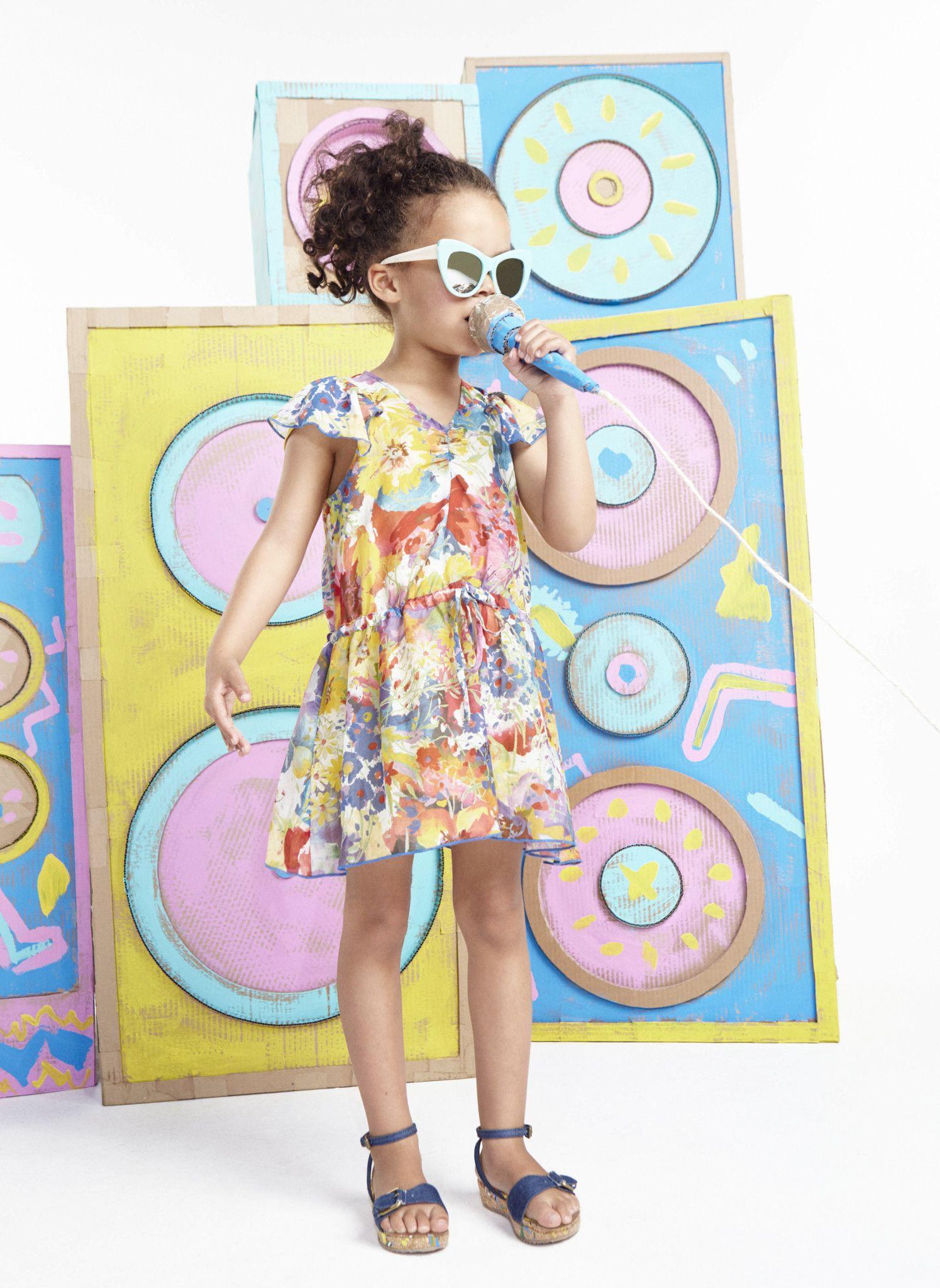 Stella McCartney Kids Nelllie Girls Floral Dress w/ Flutter Sleeves - PRE-ORDER