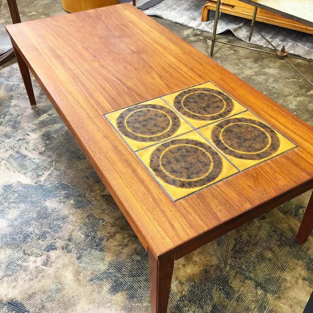 Extra large Teak coffee table with tile inlay - do this ...
