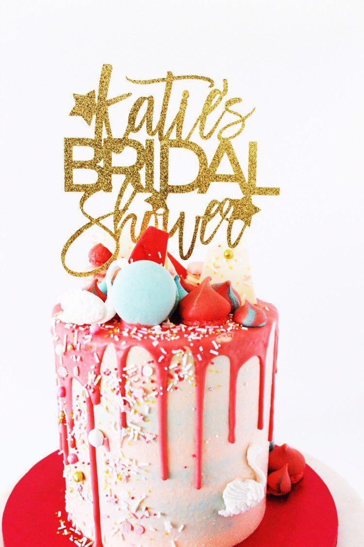 Bridal shower cake topper personalised gold glitter cake