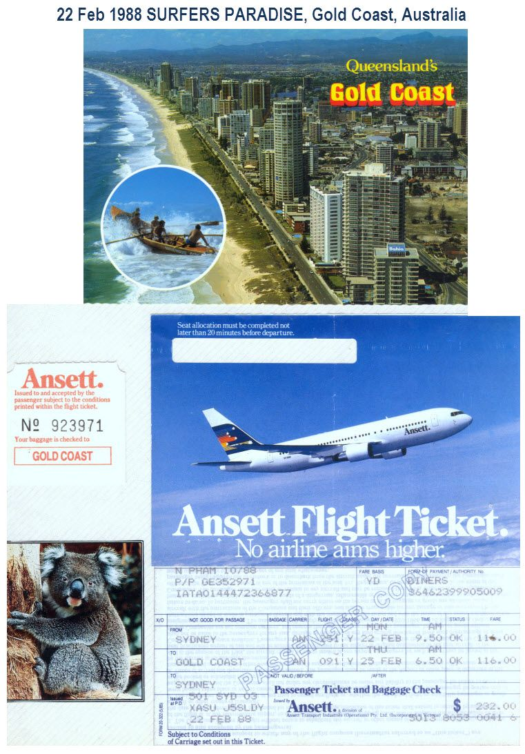1988 02 22 Ansett Australia An 251 Sydney Syd To Coolangatta Ool Surfers Paradise Australia Gold Coast