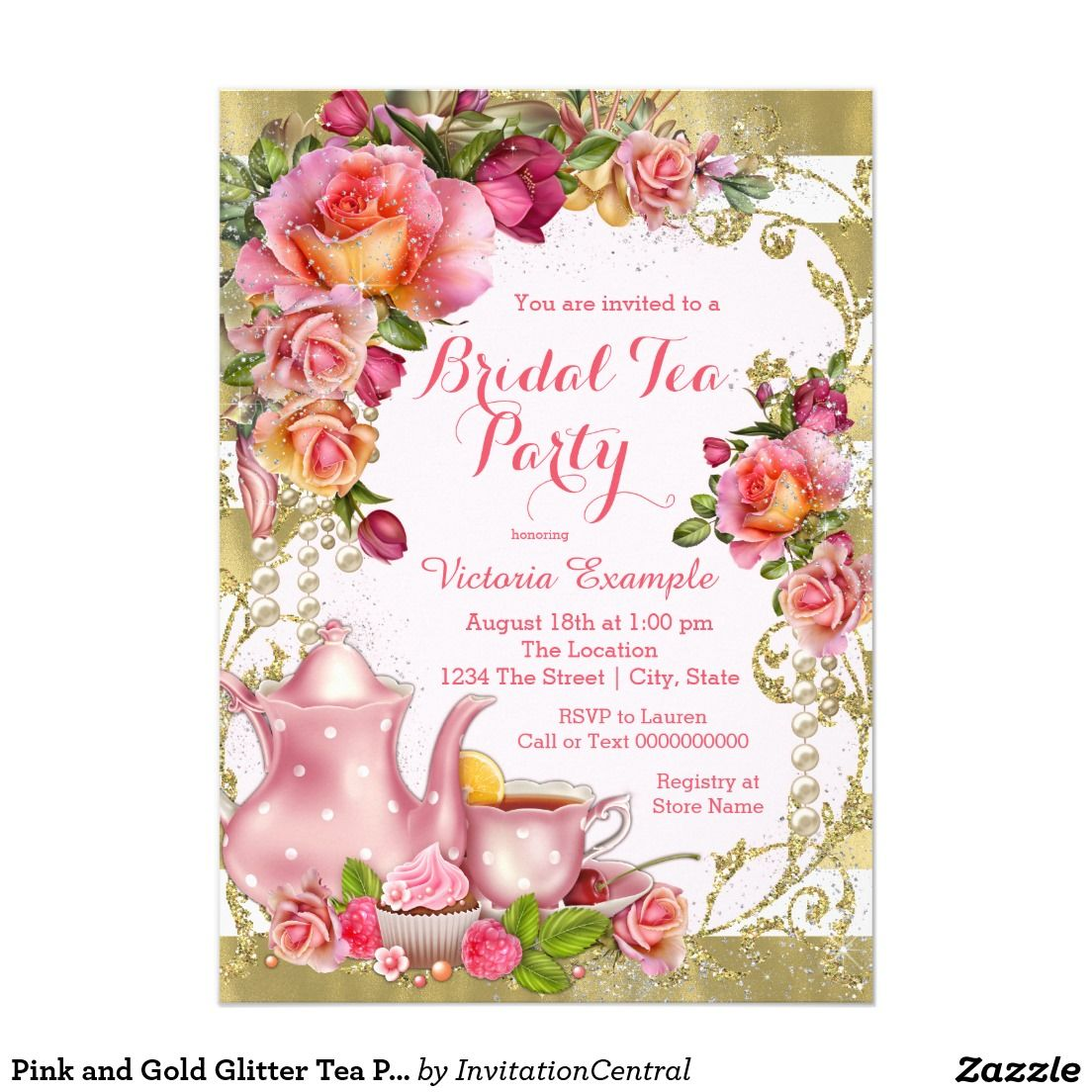Pink And Gold Glitter Tea Party Invitation Bridal Shower
