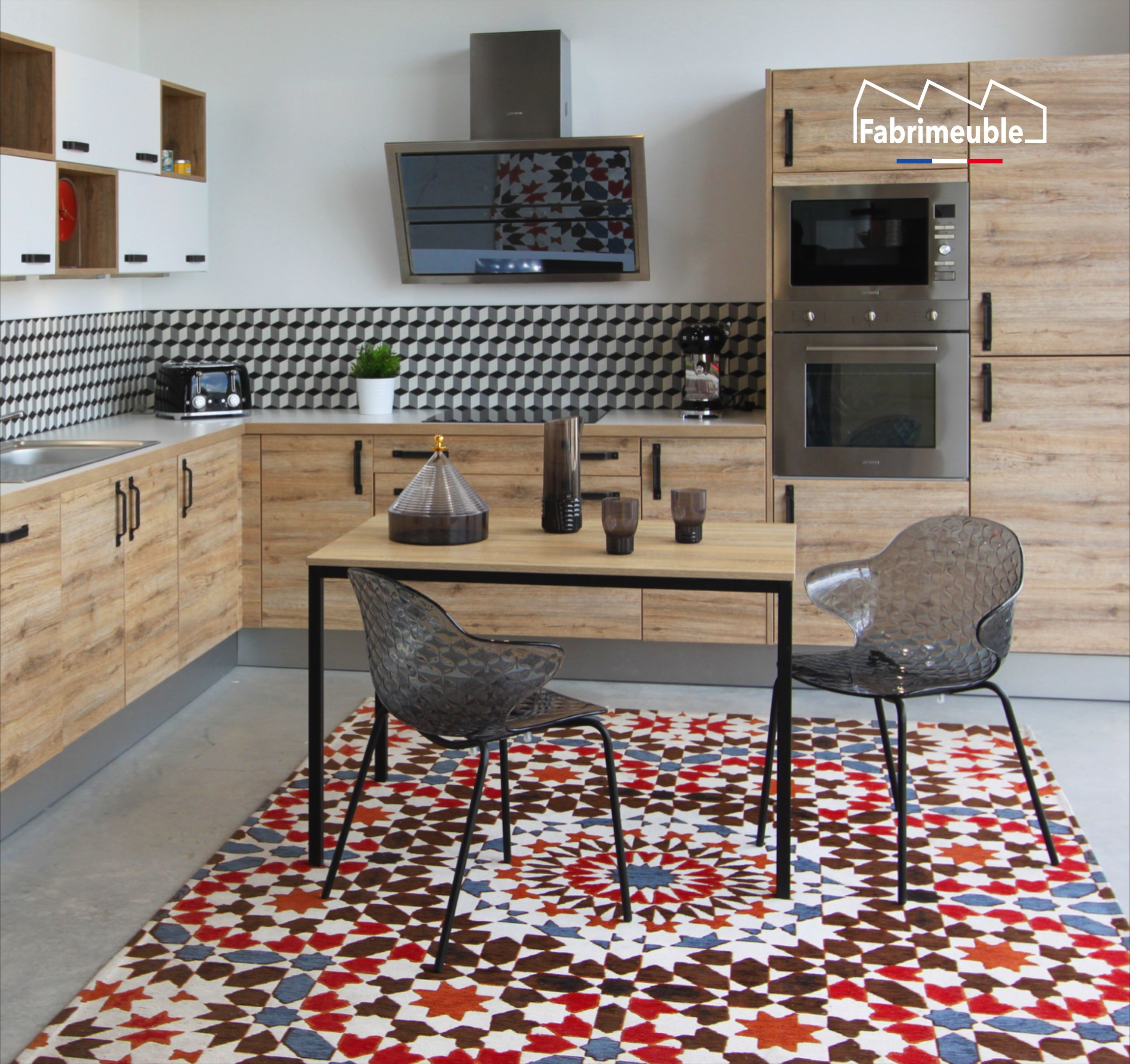 table cuisine noir et bois made in