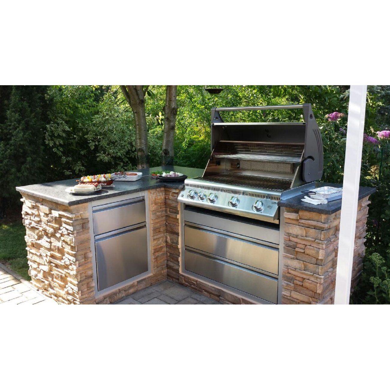 Napoleon Oasis Außenküche in L-Form aus Stein mit Edelstahl Grill ...