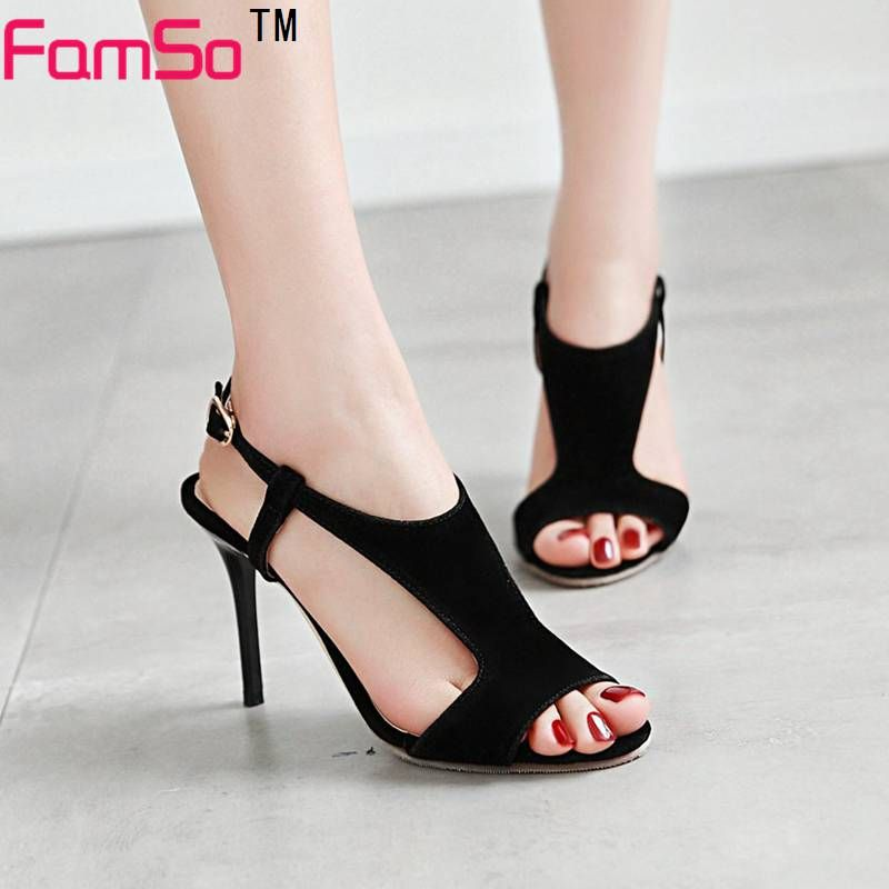 FAMSO 2017 Heels Shoes Women Sandals Black red pink High Heels Party Shoes  Summer Ladies gladiator a9f73ba12904