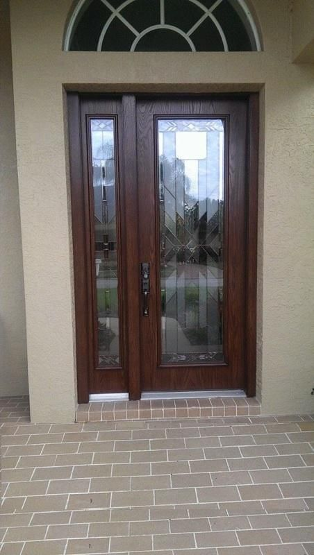 ODL Mohave decorative door glass inserts in fiberglass exterior