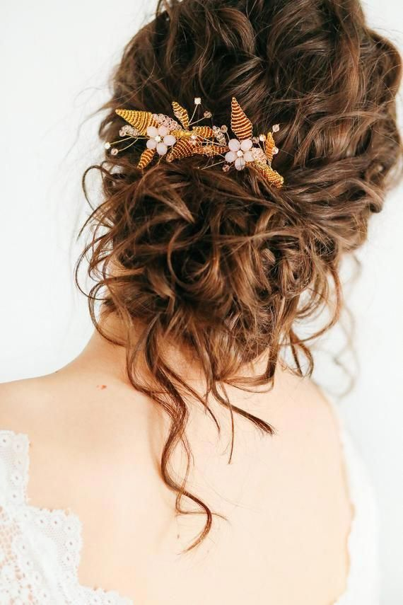 Gold blush floral comb, floral headpiece, floral hairpiece, Gold bridal comb, Silver wedding headpiece, bridal floral headpiece, silver comb
