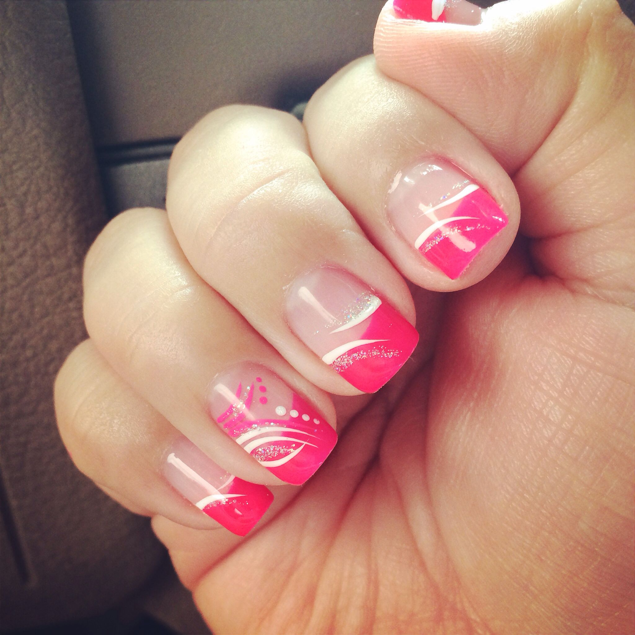 shellac pink tips with wisp design super cute nail design nail art ...