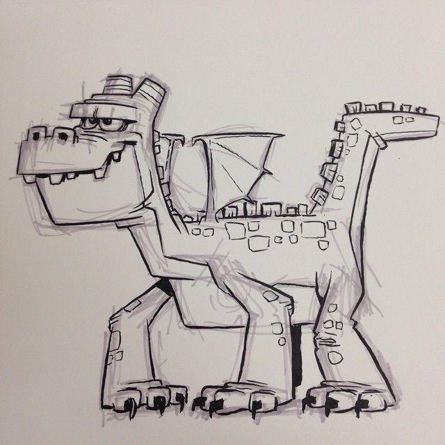 A blocky #dragon #breaksketch #brushpen #cartoon