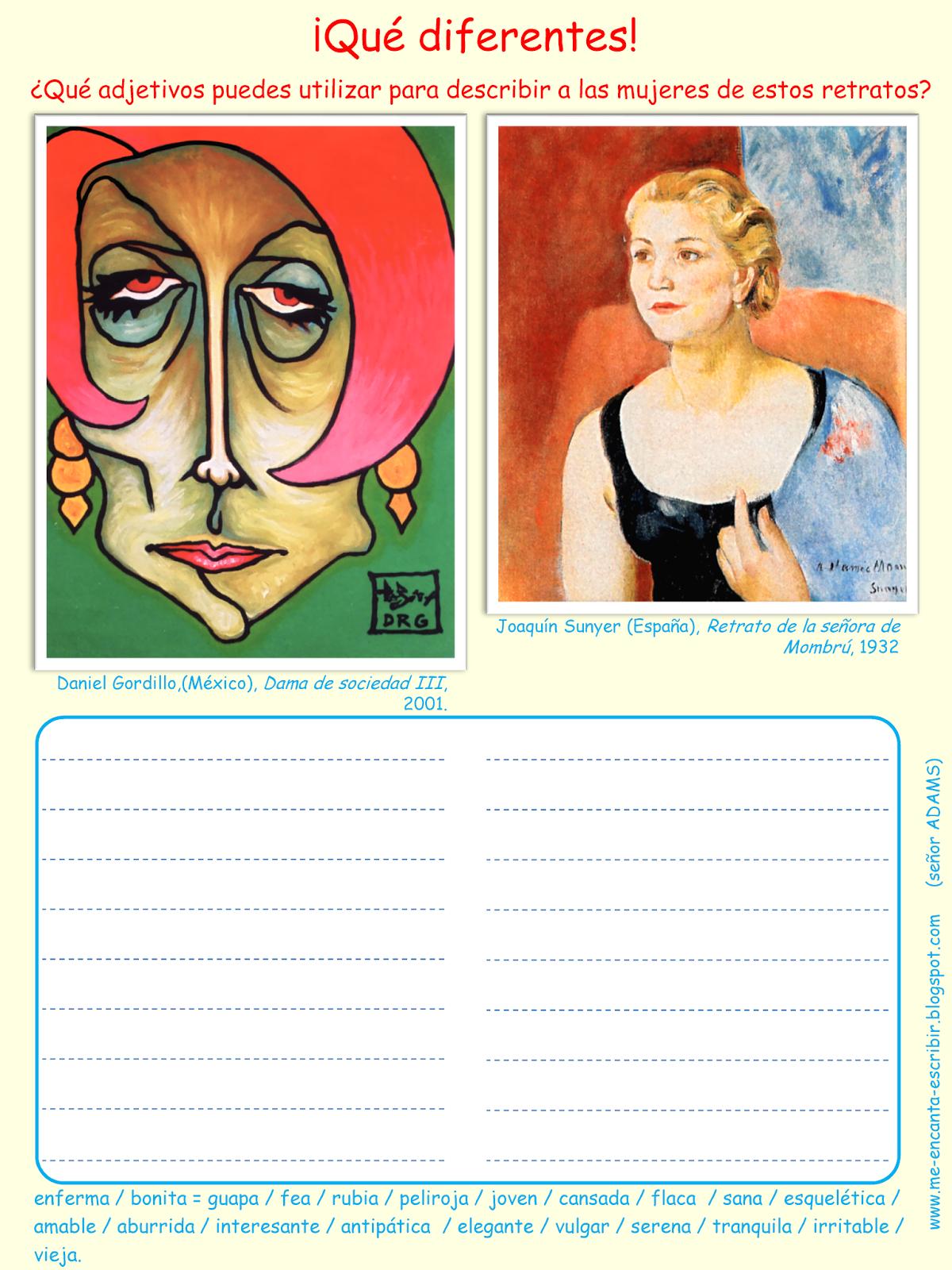 Me Encanta Escribir En Espanol Retratos De Mujeres Adjetivos De Descripcion