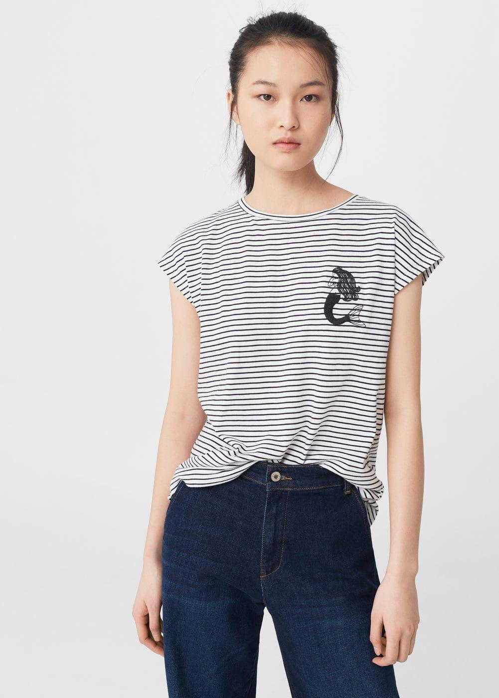 T-shirt algodão riscas | MANGO