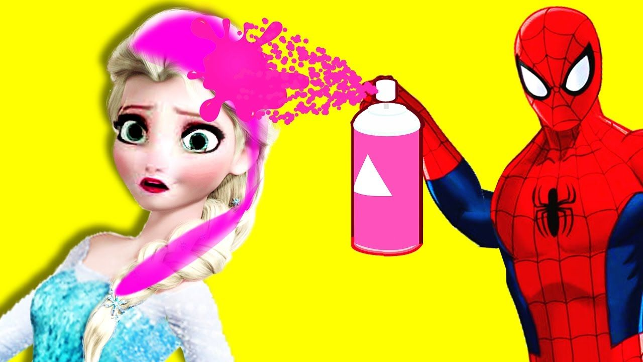 Frozen Elsa Anna Pink Hair Prank Superheroes Funny Pranks Collection Youtube Elsa And Spiderman Superheroes Funny Frozen Elsa And Anna